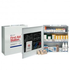 3-Shelf, 100-Person Industrial First Aid Station, Steel Cabinet