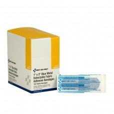 "Blue Metal Detectable 1""x3"" Fabric Bandages, 100 Per Box"